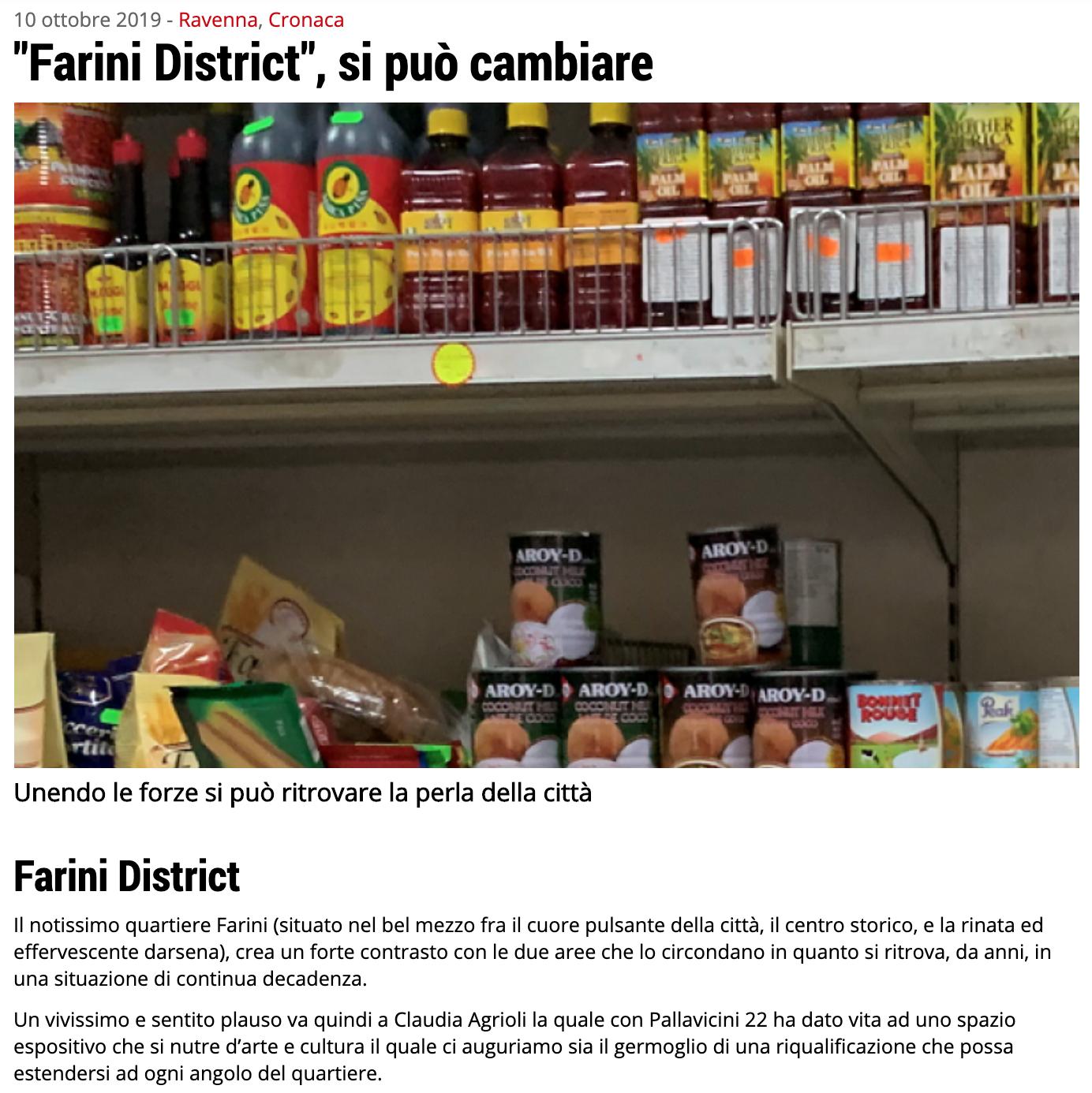 """""""Farini District"""", si può cambiare su Ravenna24Ore   Pallavicini22 spazio espositivo Ravenna"""