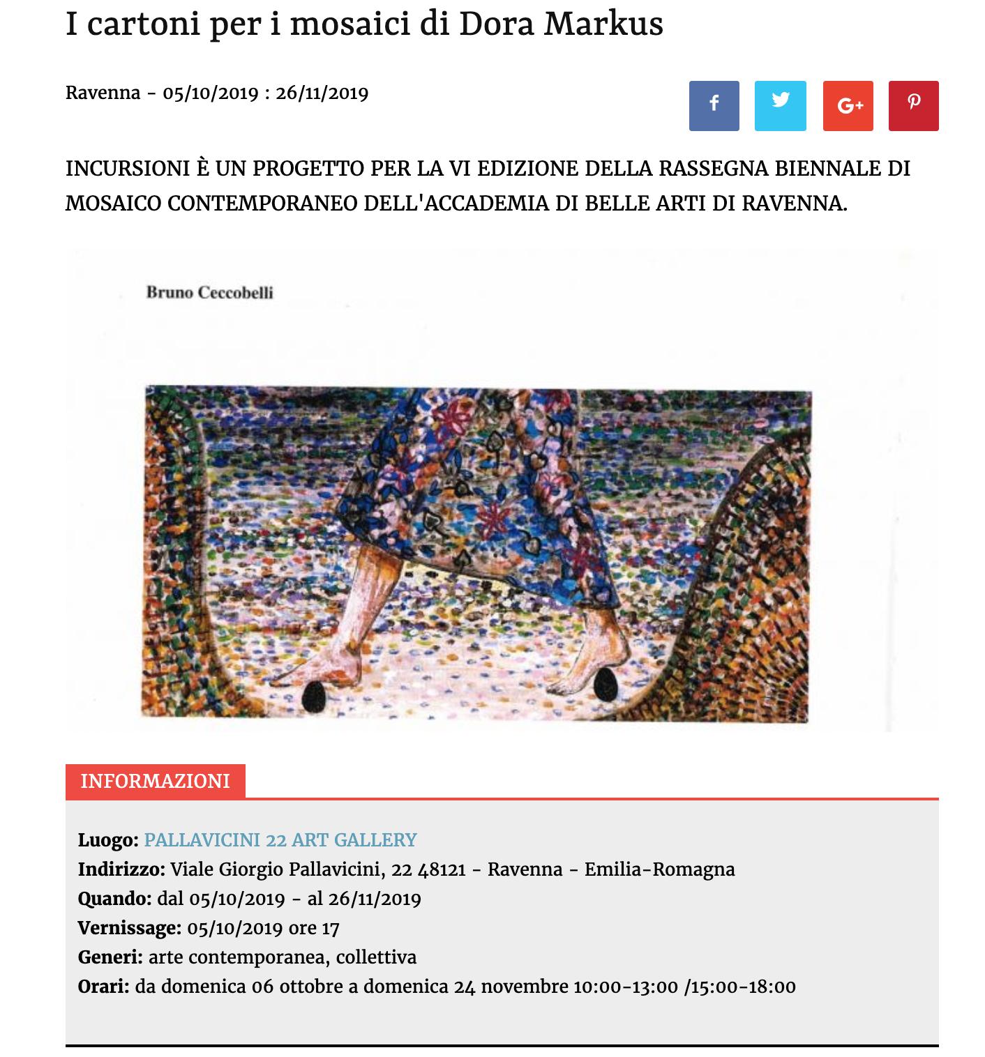 I cartoni per i mosaici di Dora Markus su Artribune | Pallavicini22 spazio espositivo Ravenna