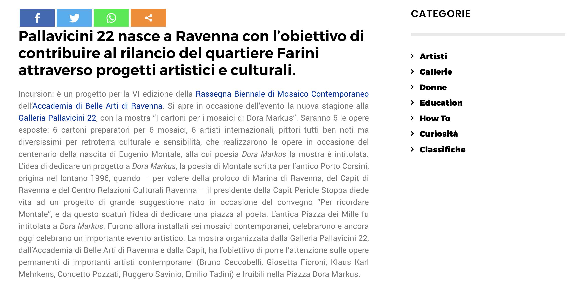 I cartoni per i mosaici di Dora Markus su Artuu | Pallavicini22 spazio espositivo Ravenna