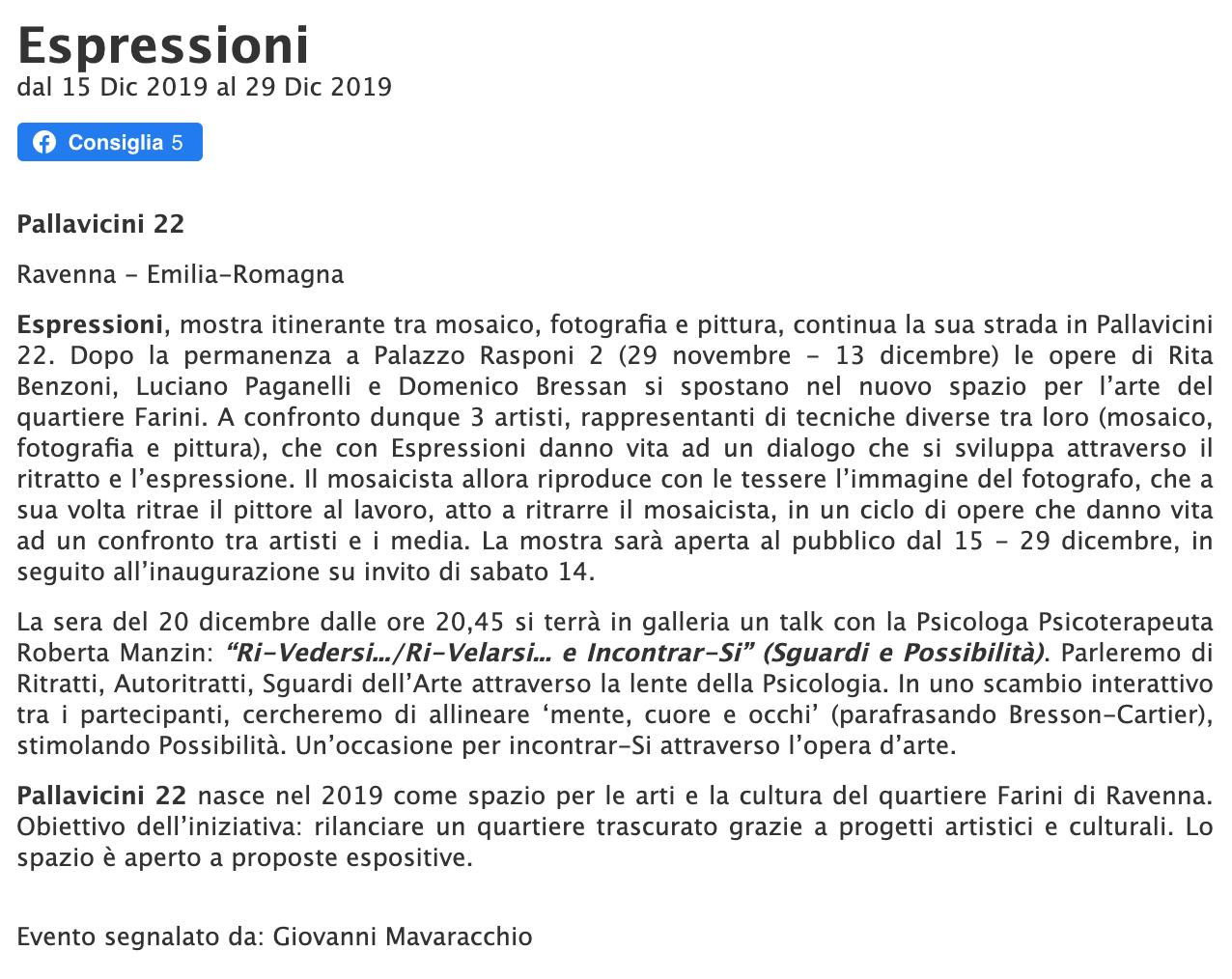Espressioni su espressioneArte   Pallavicini22 spazio espositivo Ravenna