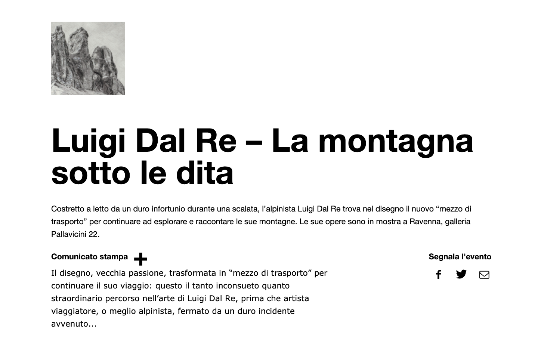 La montagna sotto le dita - Luigi Dal Re su Exibart | Pallavicini22 spazio espositivo Ravenna