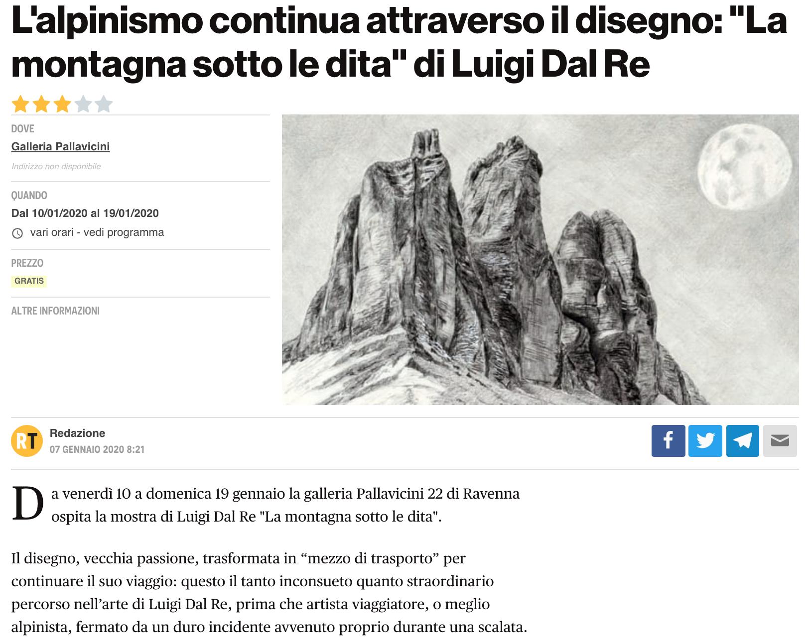 La montagna sotto le dita - Luigi Dal Re su RavennaToday | Pallavicini22 spazio espositivo Ravenna