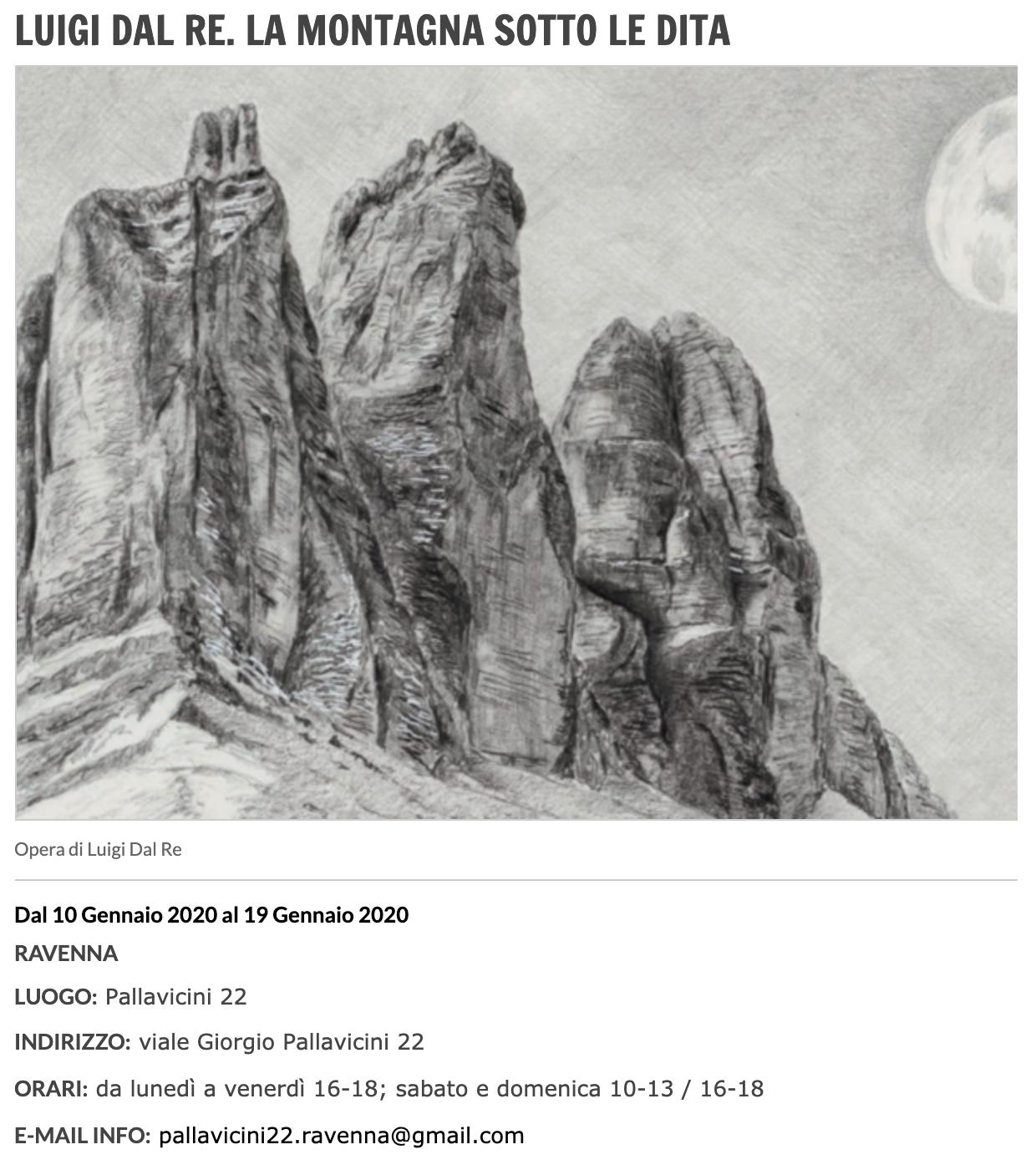 La montagna sotto le dita - Luigi Dal Re su Arte.it | Pallavicini22 spazio espositivo Ravenna