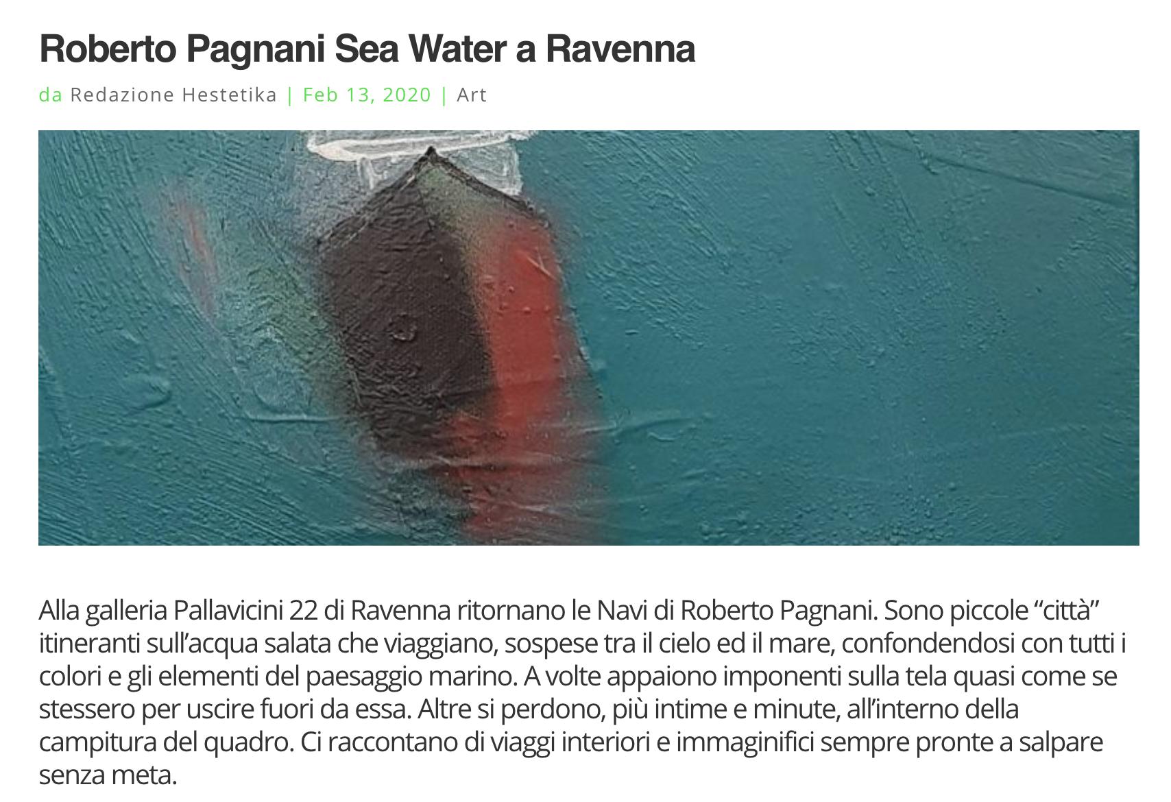 Sea Water di Roberto Pagnani su Hestetika | Pallavicini22 spazio espositivo Ravenna