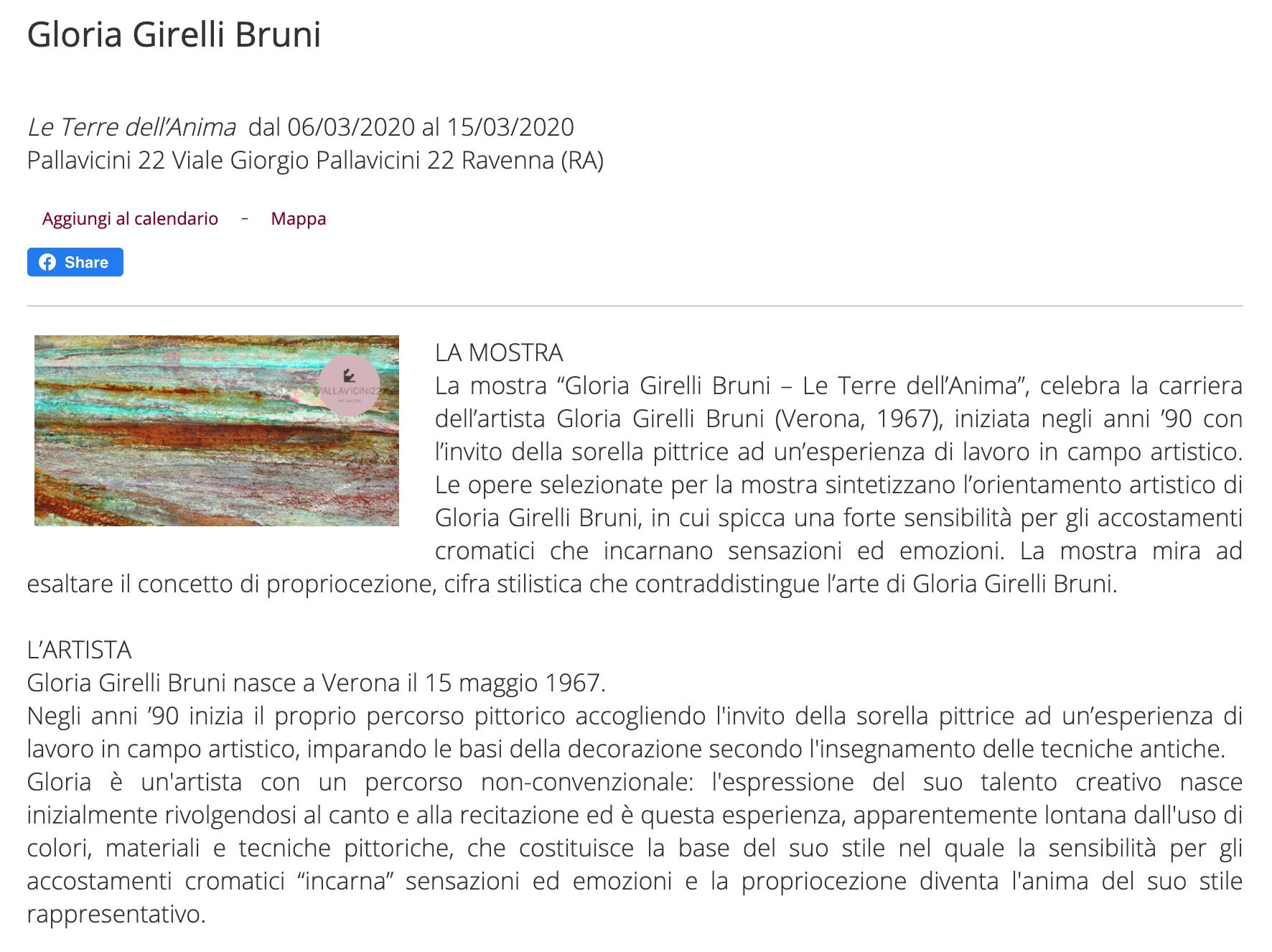 Le Terre dell'Anima di Gloria Girelli Bruni su ArteRaku.it | Pallavicini22 spazio espositivo Ravenna