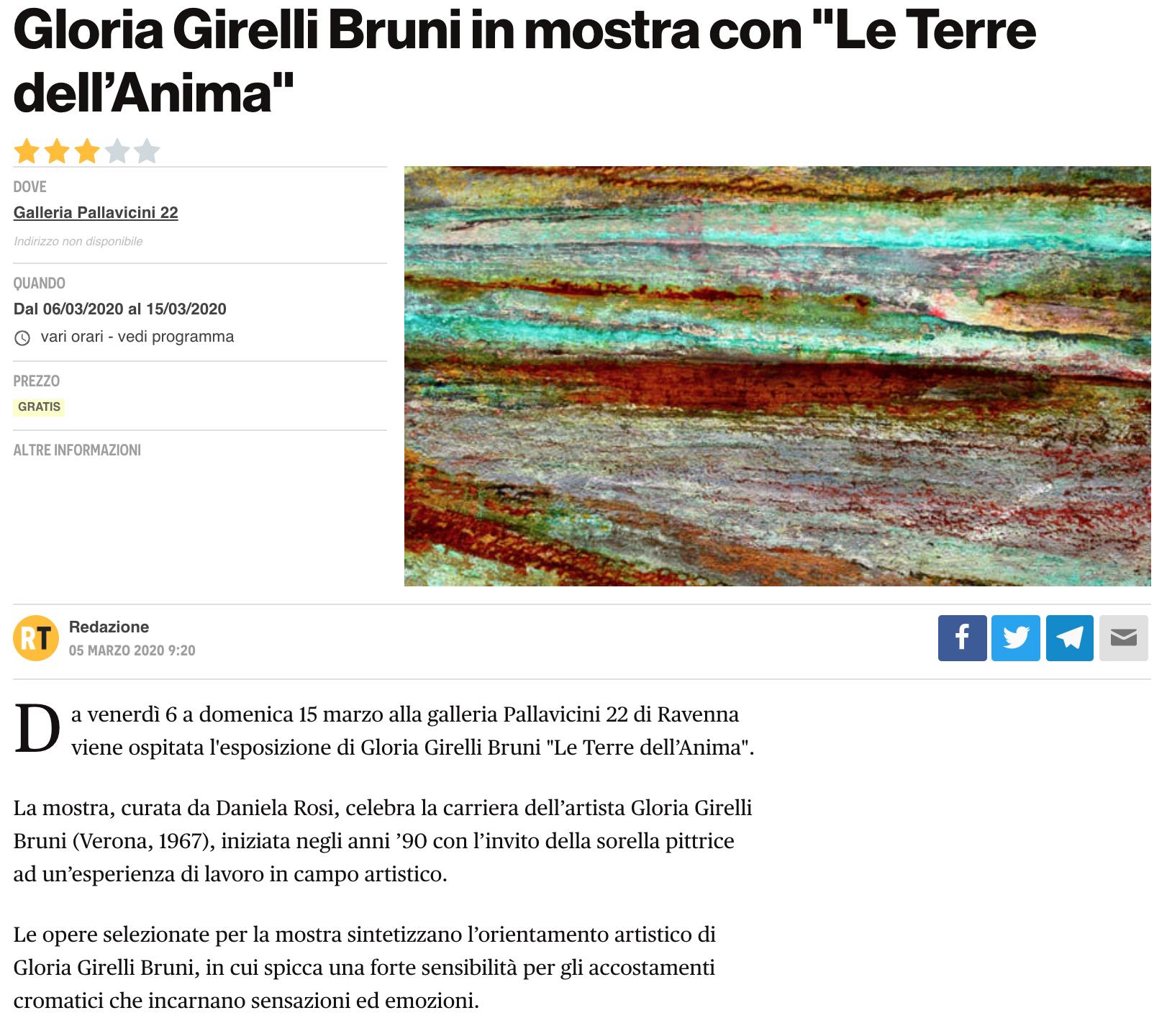 Le Terre dell'Anima di Gloria Girelli Bruni su RavennaToday | Pallavicini22 spazio espositivo Ravenna