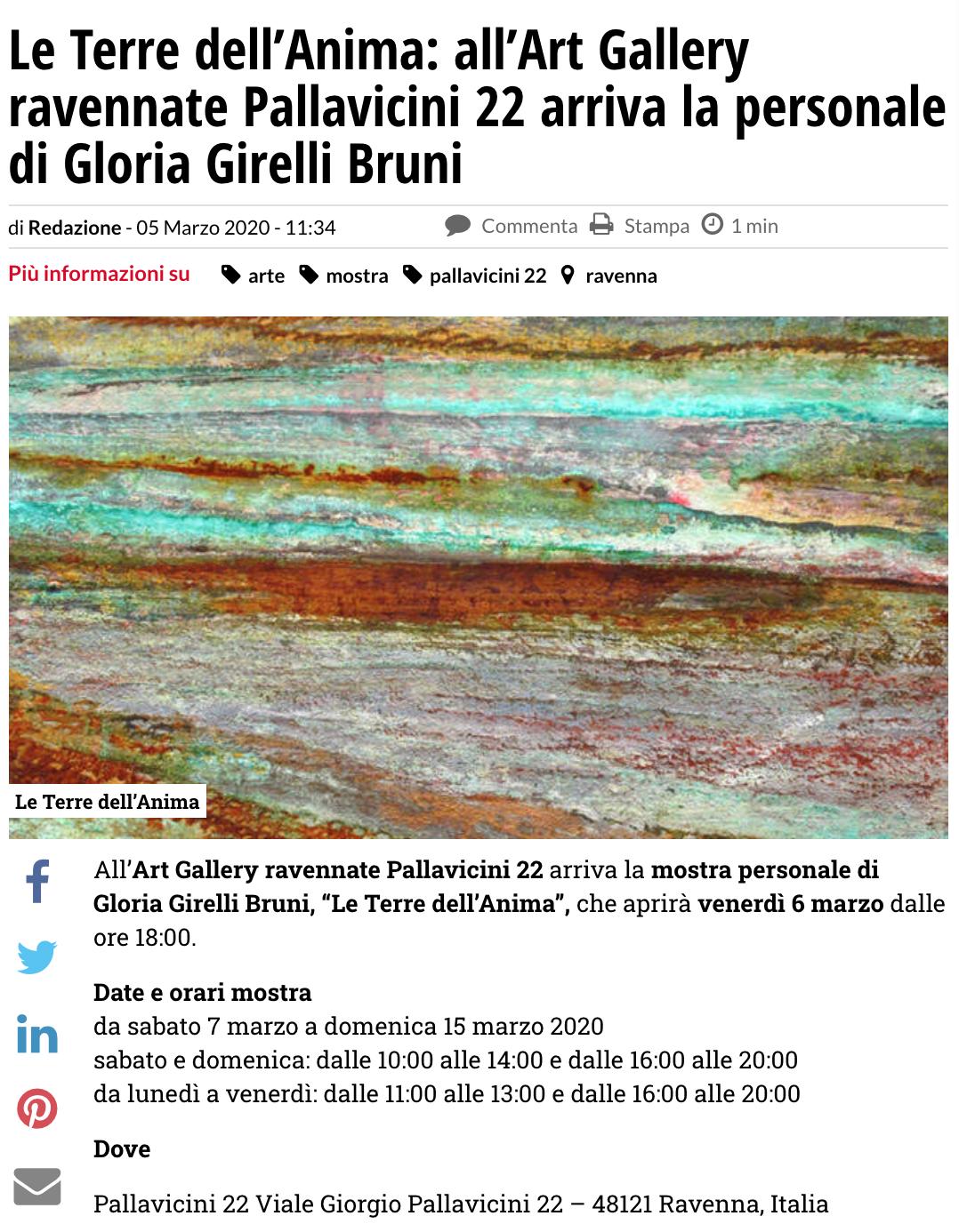 Le Terre dell'Anima di Gloria Girelli Bruni su Ravennanotizie.it   Pallavicini22 spazio espositivo Ravenna