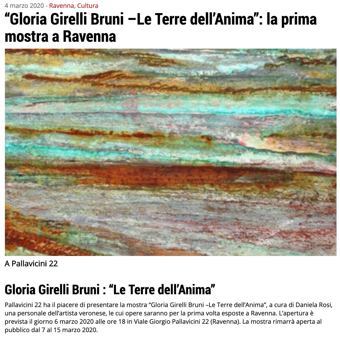 Le Terre dell'Anima di Gloria Girelli Bruni su Ravenna24Ore   Pallavicini22 spazio espositivo Ravenna