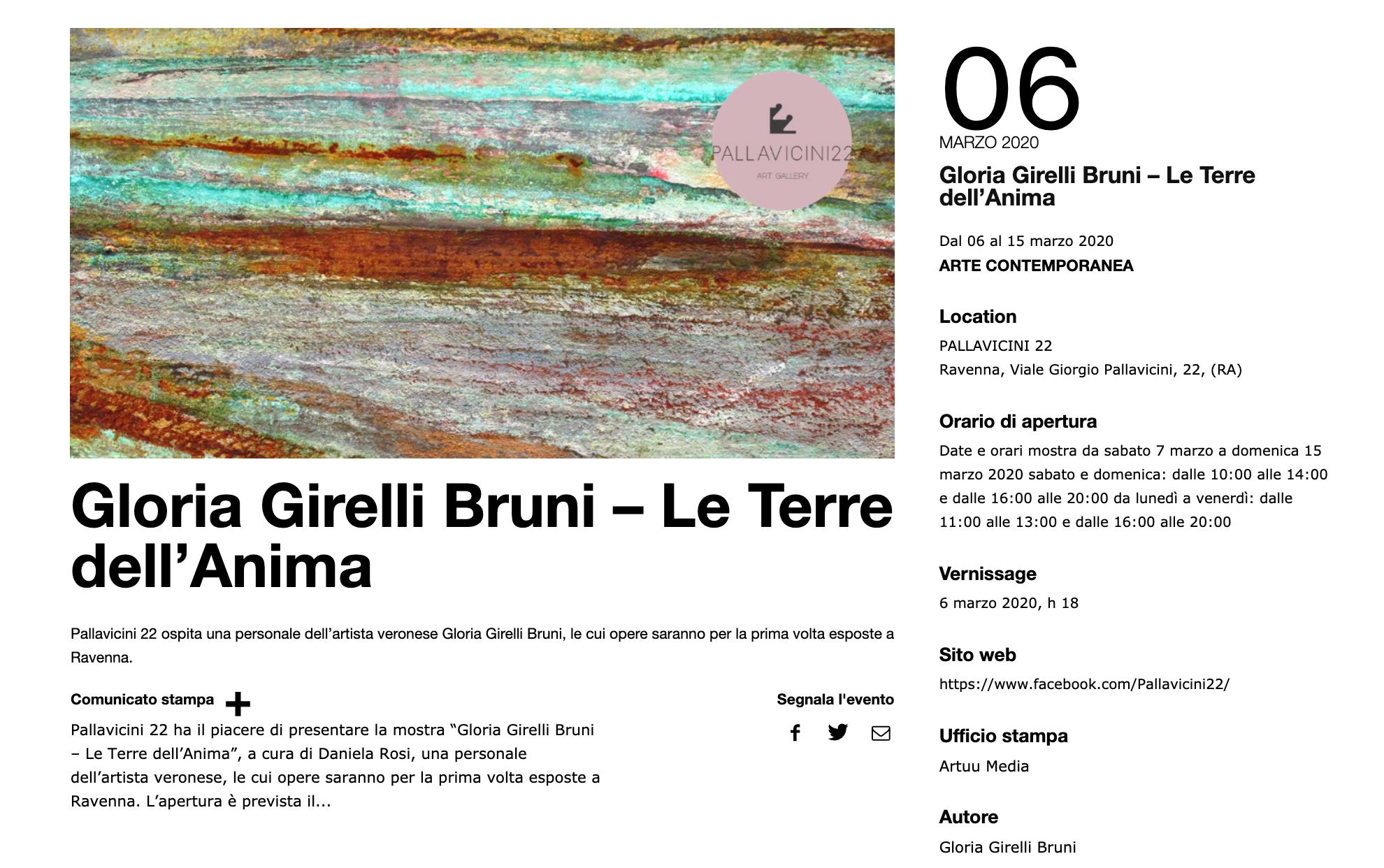 Le Terre dell'Anima di Gloria Girelli Bruni su Exibart | Pallavicini22 spazio espositivo Ravenna