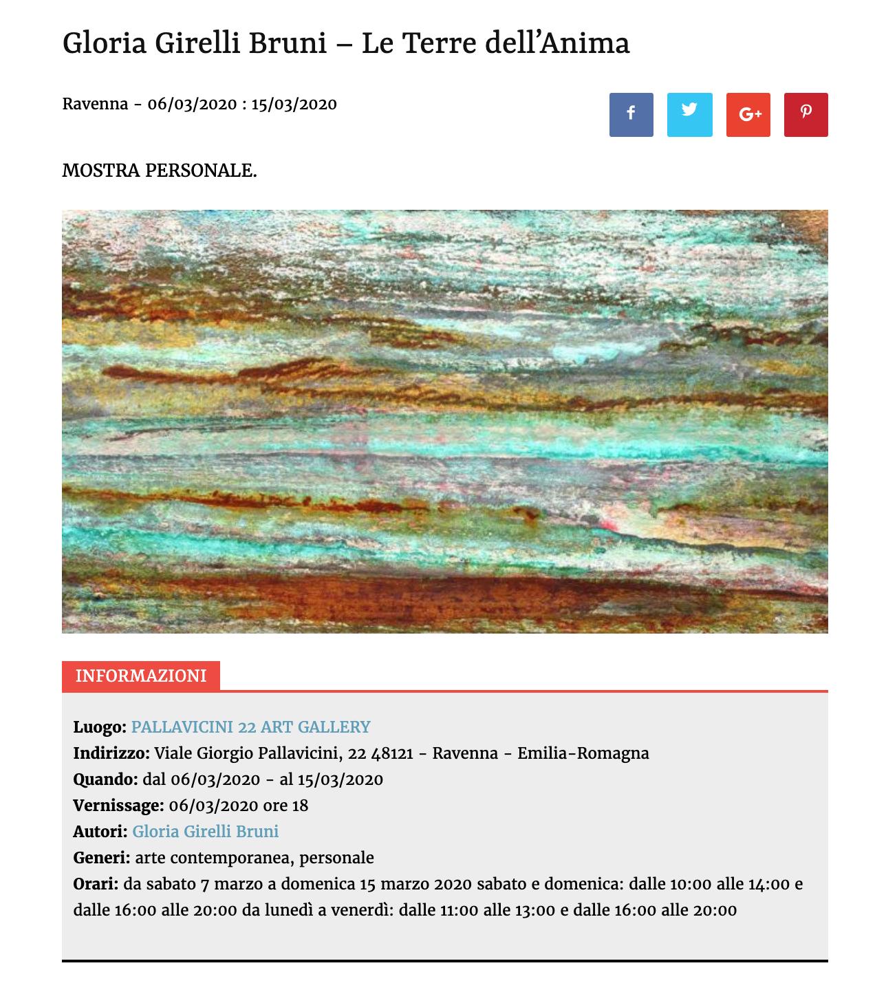 Le Terre dell'Anima di Gloria Girelli Bruni su Artribune | Pallavicini22 spazio espositivo Ravenna