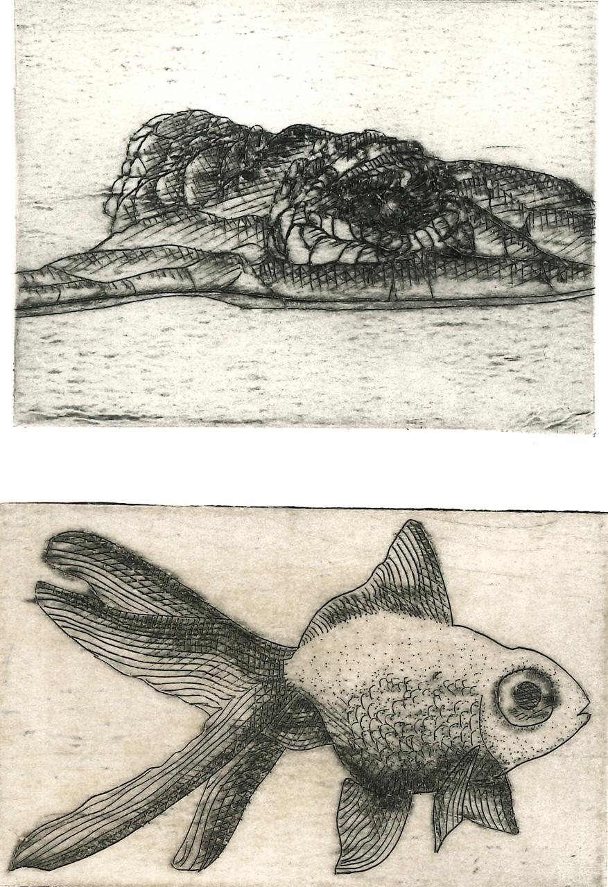 GALERA JOANNA LOIS  Cocodrillo e Pesce rosso puntasecca su tetrapk 82x83 e 55x88 mm2020