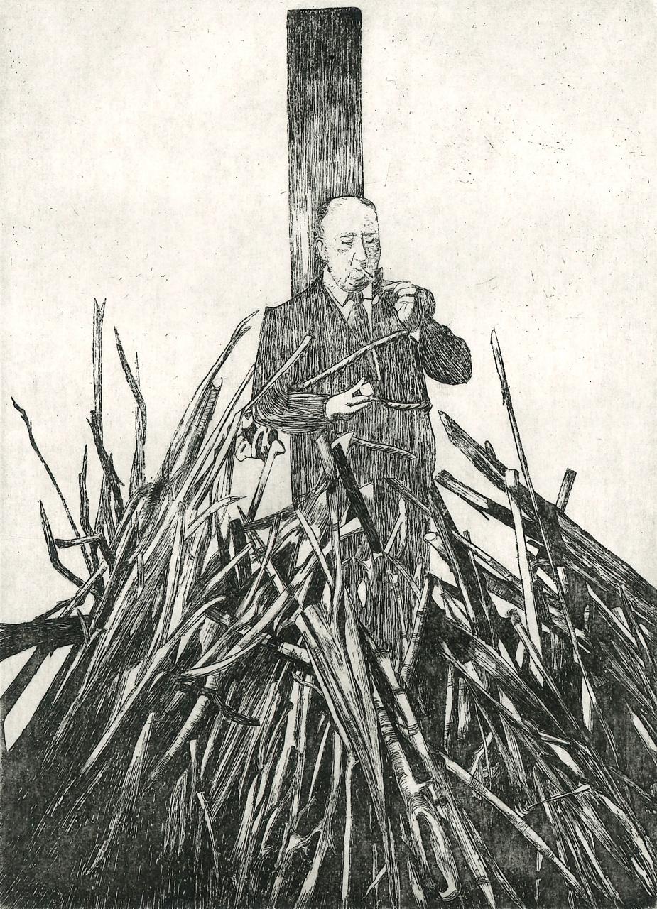 TONELLI ADELE  Alfred Hitchcock acquaforte su zinco170x120 mm 2020