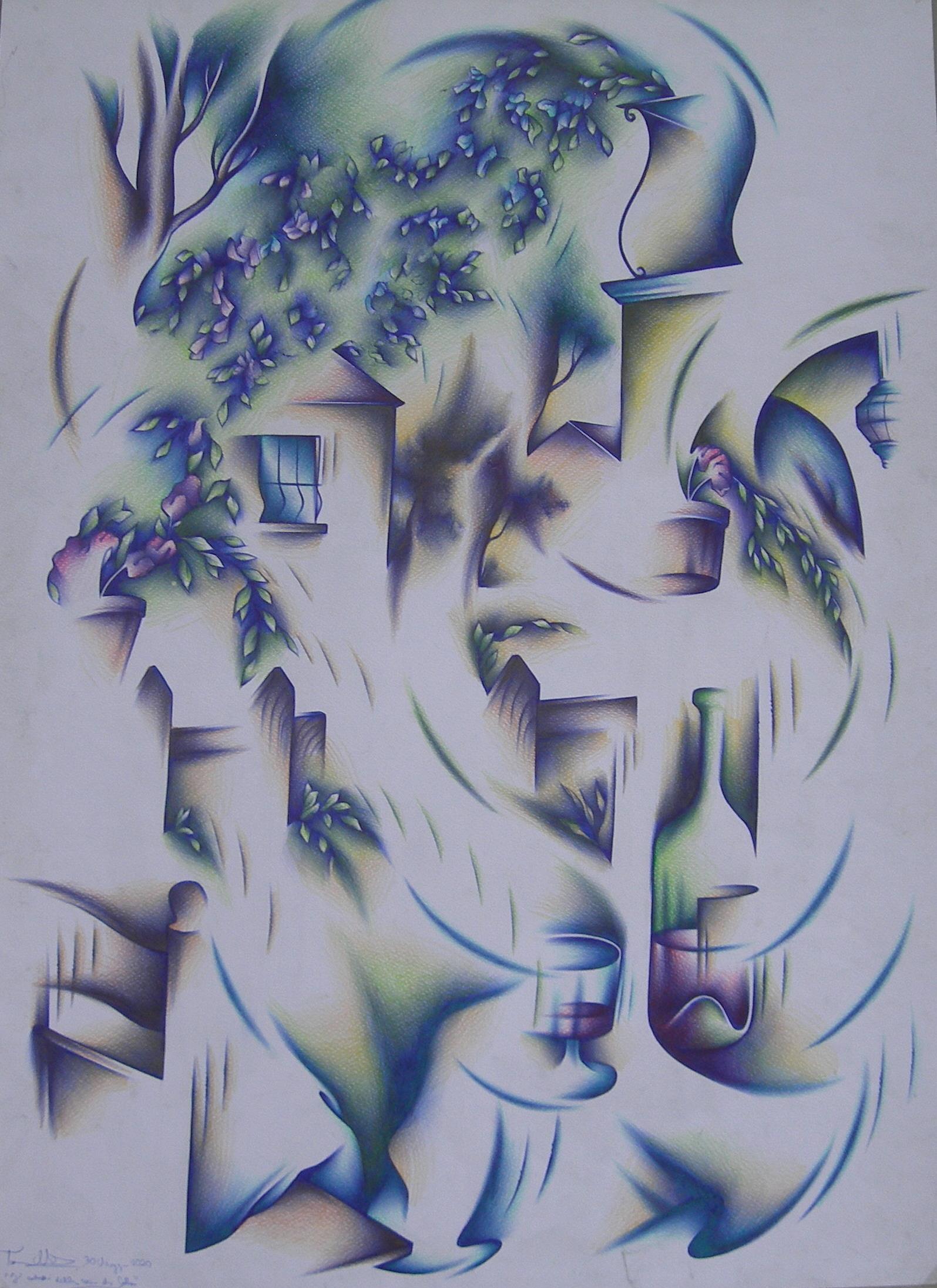 Giardino della casa di Catte tecn. m. su carta  cm. 70x50  2020