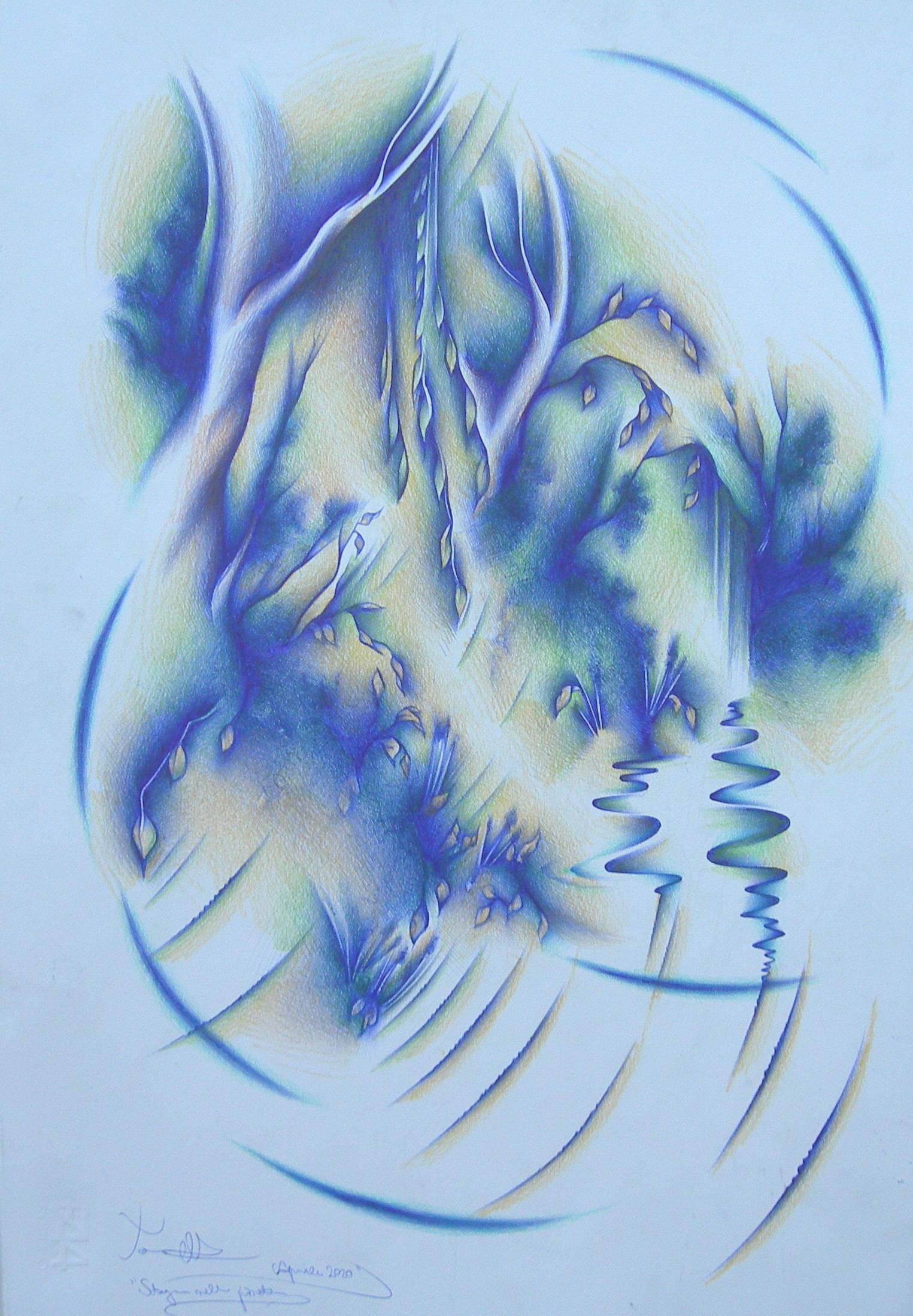 Stagno nella pineta tecn. m. su carta cm. 33x48 2020