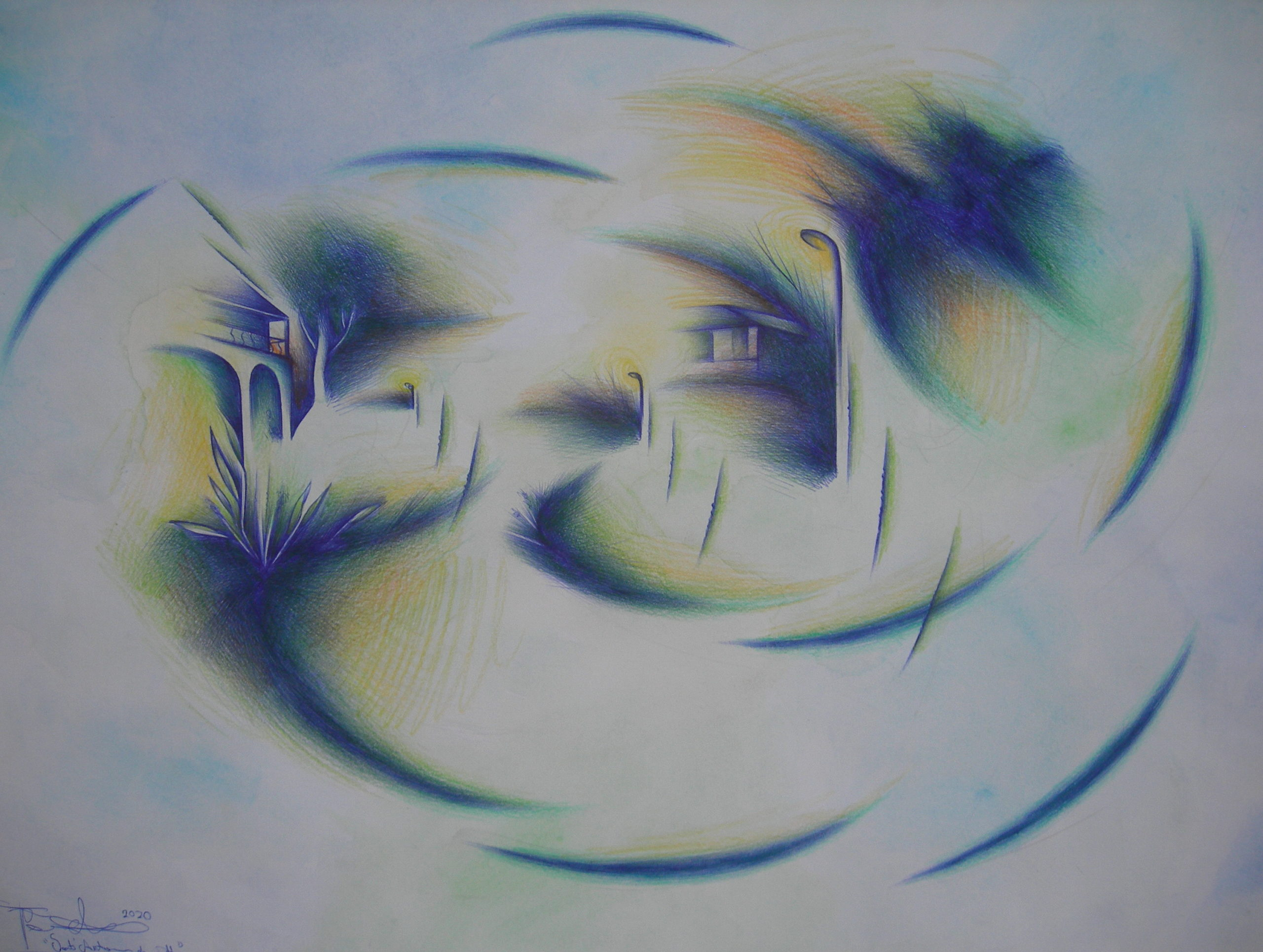 Sant'Antonio di notte tecn. m. su carta cm. 35x50 2020