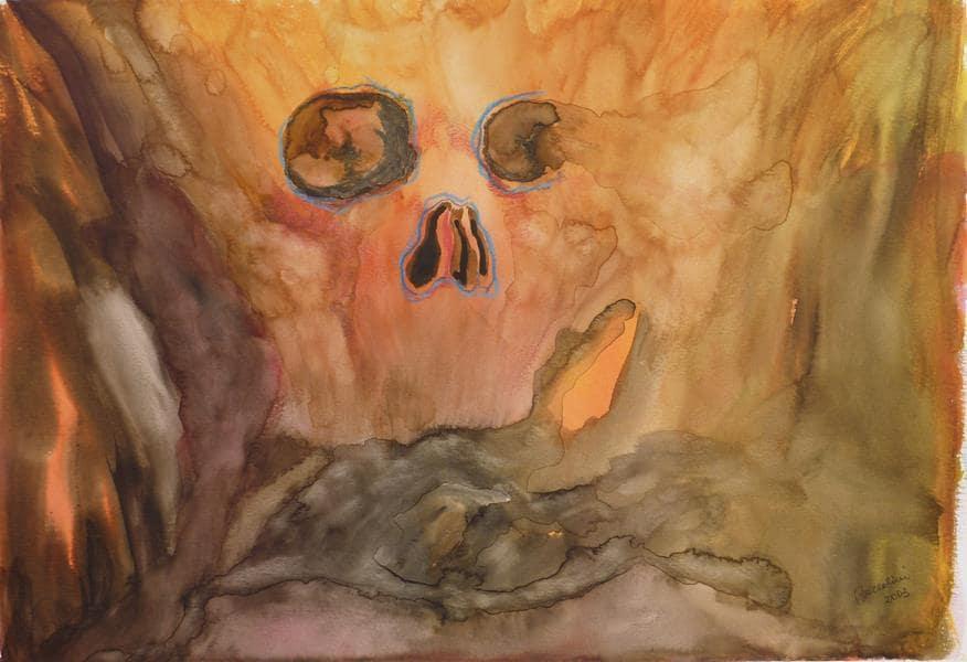 Meme BaccoliniDiavolo infernale acquerello su carta cm 48x33 2003