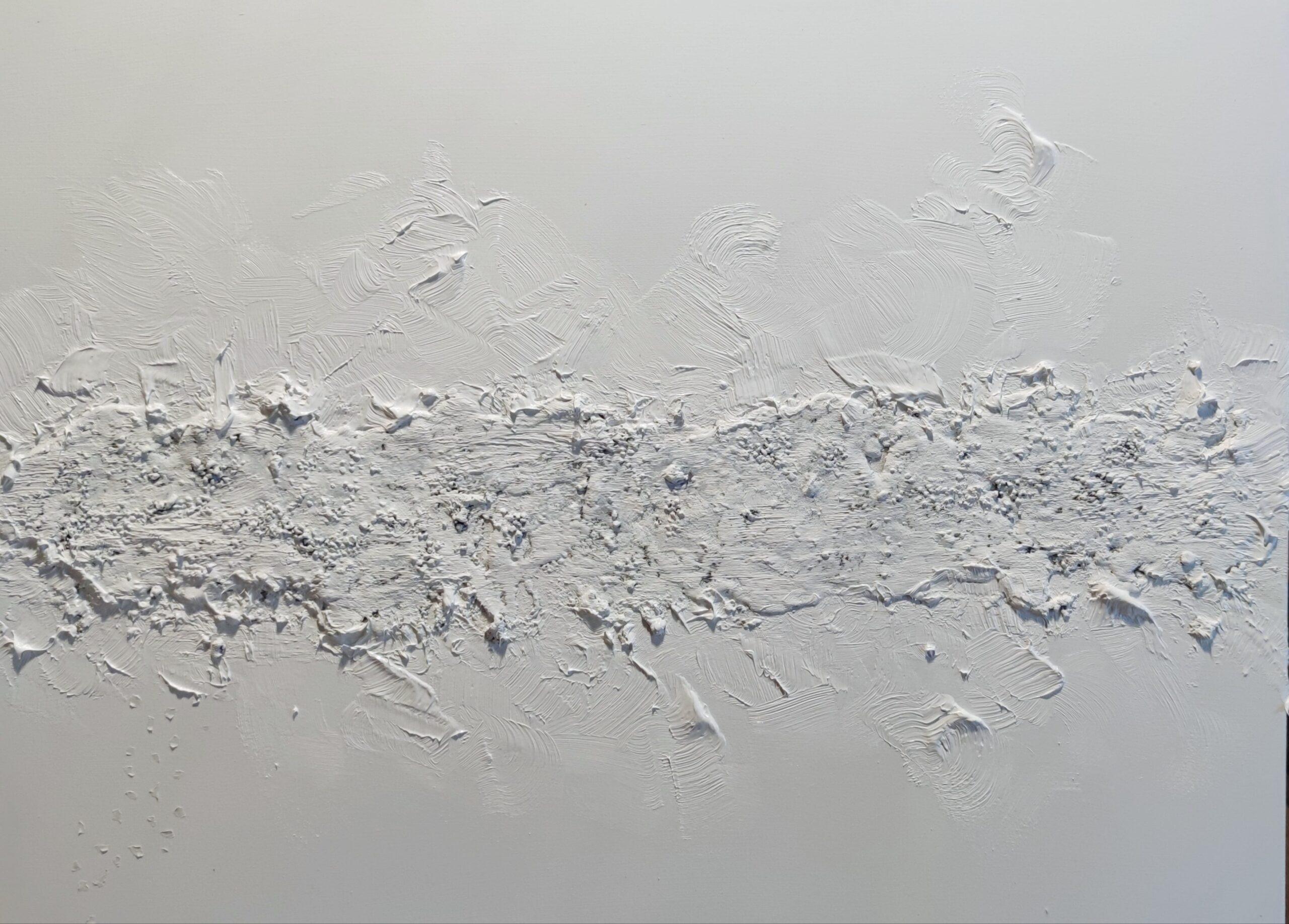 Nadia Barresi Vacuo 2 olio sabbia carta su tela cm 60x80 2021